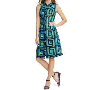 Boden iris sleeveless shirt dress geometric print